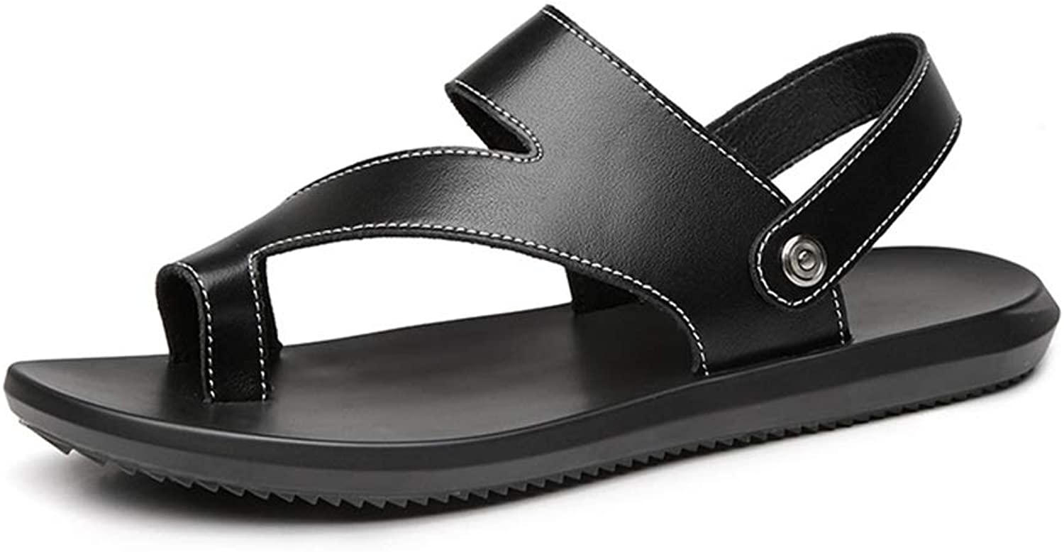 Men's Sandals Summer Beach Casual Women's shoes Leather Thong Slippers (color   115-Black, Size   6.5 D(M) US)