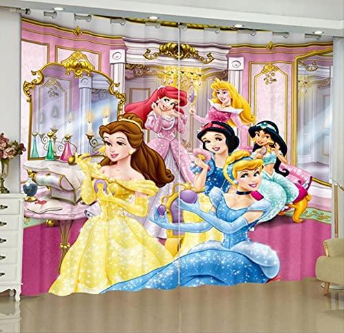 lubenwei Cortinas Opacas Blancanieves Princesa Cortinas de Ventana oscurecedoras con Aislamiento térmico para la Sala de Estar del Dormitorio 150(H) x125(W) Cmx2 Paneles/Set (B-1565)