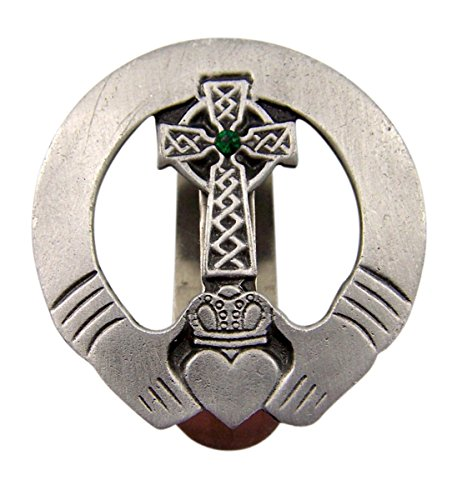 Fine Pewter Irish Claddagh Celtic Cross Auto Visor Clip with Green Accent, 1 7/8 Inch