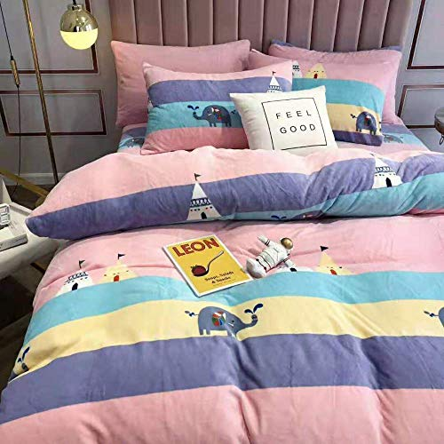 geek cook Flannel duvet cover set,Autumn and winter milk velvet four-piece set, double-sided thick flannel sheet duvet cover to keep warm-elephant_1.5m/1.8m bed