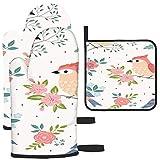 Puilkfgt Patrón Pastel de pájaros con Elementos Florales en Manoplas de Horno y Porta ollas (Juego de 3 Piezas)