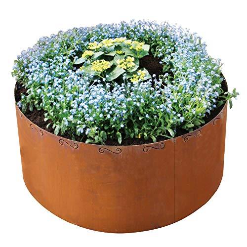 bellissa Hochbeet CORTEN rund - 91004 - Pflanzkübel rund aus Cortenstahl - 3-teiliger Bausatz - Durchmesser 110 cm, Höhe 50 cm