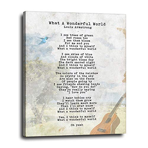 What a Wonderful World Lyrics on Canvas 16x20 - Louis Armstrong Music Decoration - Inspirational Motivational Uplifting Art - Sentimental Quote for Bedroom, Kitchen, Home - Ready to Hang Artwork