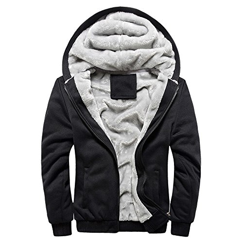 MRULIC Herren Hoodie Pullover Winter Warme Fleece Jacke Zipper Sweater Jacke Outwear Mantel RH-054(Schwarz,EU-48/CN-XXL)