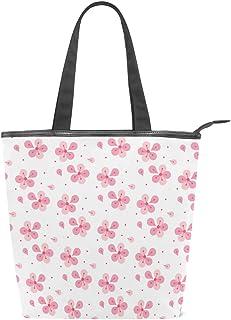 Mnsruu Große Handtasche aus Segeltuch Strandtasche, Reisetasche, Einkaufstasche, Schultertasche mit Blumenmuster, Rosa