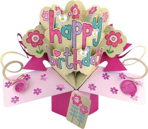 Second Nature Carte d'anniversaire pop-up pour fille Motif Happy Birthday avec fleurs et oiseaux