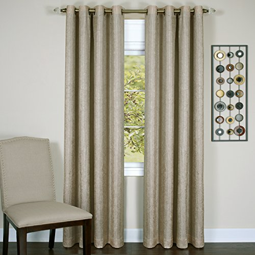 Achim Home Furnishings Taylor Lined Blackout Grommet Window Curtain Panel, 50 x 84, Tan