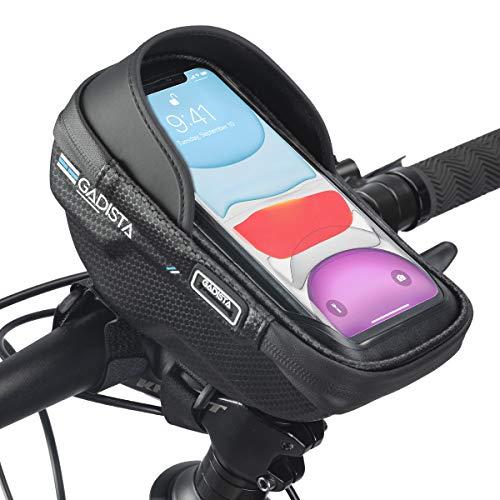 GADISTA - Bolsa de terciopelo para manillar de bicicleta impermeable para smartphone de hasta 6,5 pulgadas, soporte universal con pantalla táctil y espacio de almacenamiento para billetera