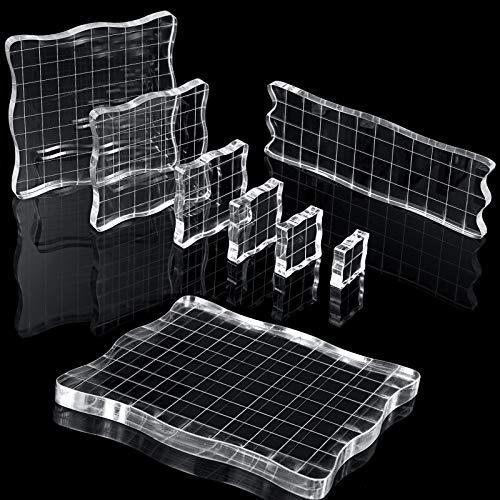 7 Pieces Stamp Blocks Acrylic Clear Stamping Blocks Tools with Grid and Grip, Decorative Stamp Blocks for Scrapbooking Crafts Making, DIY Crafts Ornaments