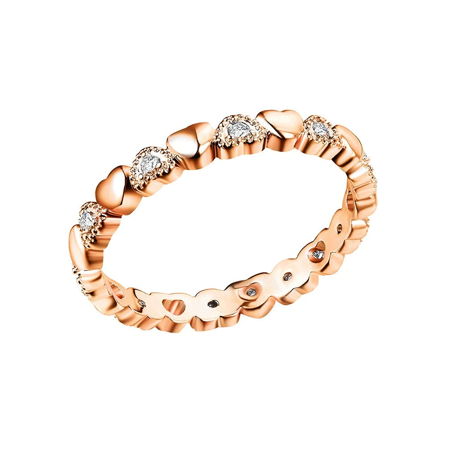 Twinsmall Sterling Silver Star Ring Stackable Rings Eternity Promise Rings for Women Girls Engagement Rings Gifts