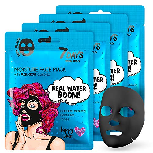 Black Face Sheet Mask 4 Pieces Charcoal For All Skin Types Hyaluronic Acid Moisturizing Complex Restores Elasticity Face Pore Cleaner 5x25g   7DAYS