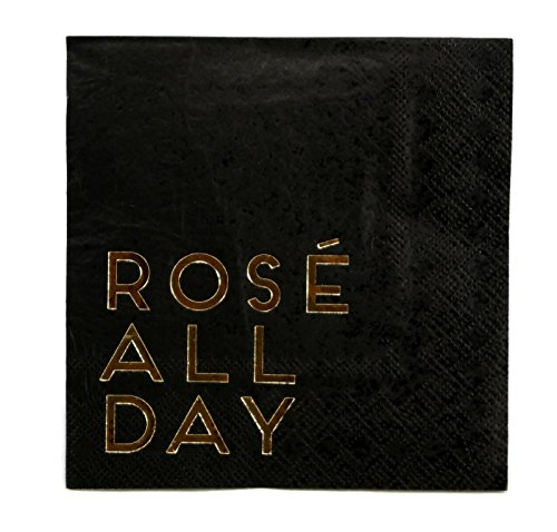 C.R. Gibson New Years Eve Party 5 x 5 inch Beverage Napkins, 2 Packs 40 Count (Rose All Day)