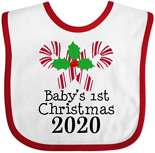 Inktastic Babys First Christmas 2020 Outfit Baby Bib White/Red 37b88