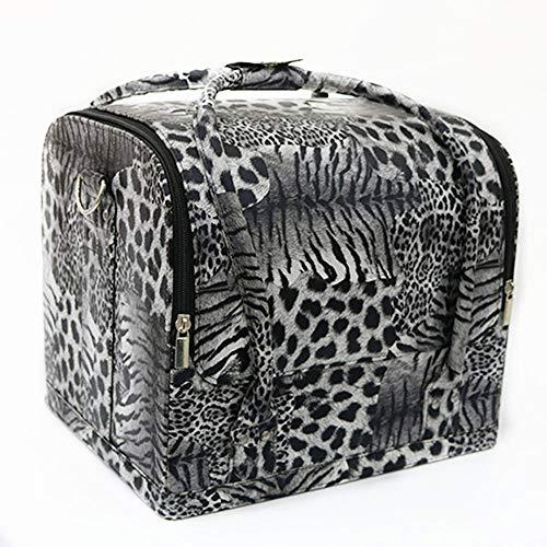 LOMOOC Professionelle Kosmetischer Organizer Tasche Kosmetikkoffer Wasserdicht Schminktasche,mit Tragegurt,Tabletts -Weißer Leopard