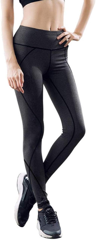 High Waist Leggings Ladies Tights Strength Stretch Yoga Pants Slim Sports Trousers,GreyS