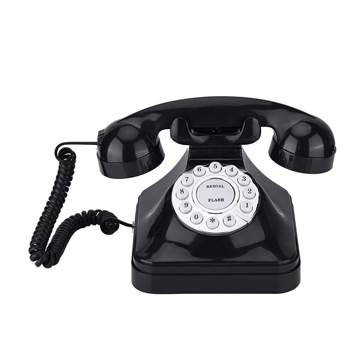 オプション有効害SoarUp 固定電話 電話機 レトロ電話 有線電話 フラッシュ?リダイヤル?スペア 使いやすい プラスチック製 ブラック