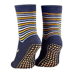 Piarini 2 pairs of children's stopper socks ABS socks anti-slip socks pimples cotton boys girls blue Gr. 35 36 37 38