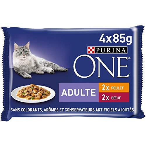 Purina One Poulet, Bœuf - 4 x 85 g - Sachets Fraîcheur pour Chats Adultes- Lot de 12