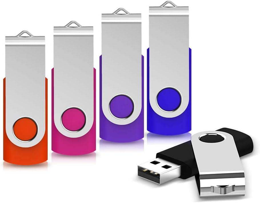 USB Flash Drive 32GB 5 Pack, KEATHY USB 2.0 Thumb Drive Jump Drive Pen Drive Bulk Memory Sticks Zip Drives Swivel Design (32G, 5 Pack Color Assorted)