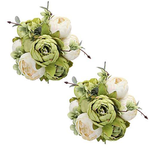 Tifuly 2 mazzi di peonie Artificiali, Bouquet di Fiori Vintage di peonie di Seta realistiche per la Decorazione Domestica del Partito dell'ufficio di Nozze, composizioni Floreali (Verde)