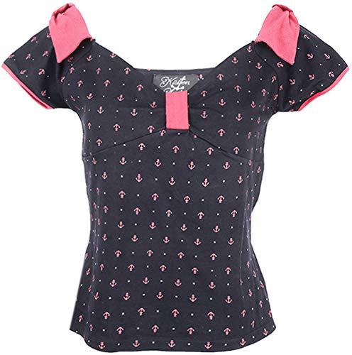 Küstenluder Damen Oberteil Cecile Anker Rockabilly Shirt Schwarz XL