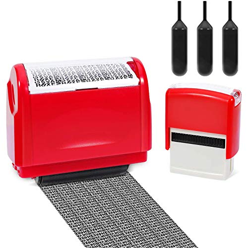 Itari Identity Theft Protection Roller Stamp for Id Blockout,Privacy Confidential and Address Blocker, with Self-Inking Stamps and 3 Refill Inks (red)
