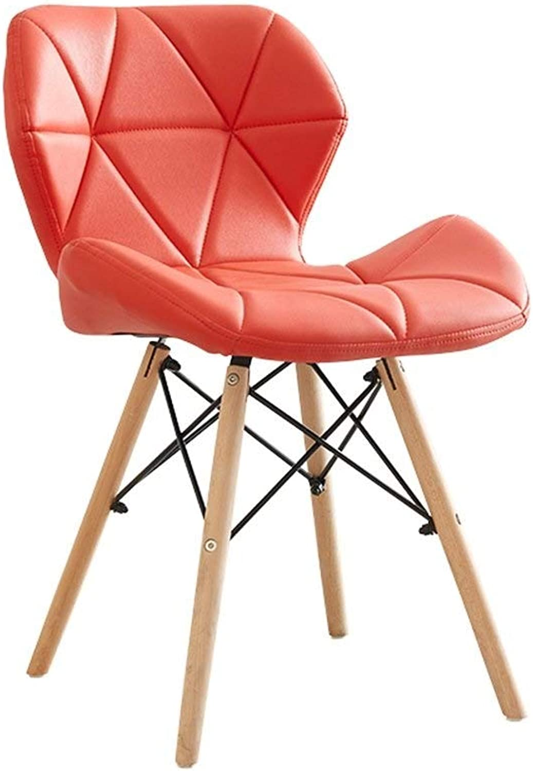 MMAXZ Bar Chair Creative Solid Wood Nordic backrest Dining Chair, Modern Minimalist Home Studio Makeup Stool Computer Chair Home Decoration (color   Red)