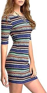 Bright Aztec Tribal Geometric Longsleeve Bodycon Dress