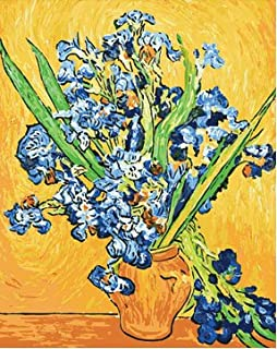 Colour Talk Diy home decor digital canvas oil painting by number kits worldwide famous oil painting Vase Irises by Van Gogh 1620 inch.