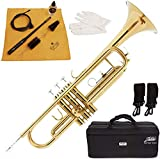 Mendini by Cecilio Standard Bb Trumpet with Hard Case, Gloves, 7C Mouthpiece, and Valve Oil (Gold+Maintenance Kit)