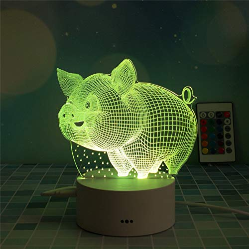 marca blanca USB battery touch remote control colorful night light 3d creative gift table lamp