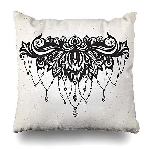 N\A Throw Pillow Cover Square SizePage Abstract Rich Tattoo Jewelry Barroco Decorativ Shine Nature Adulto África Árabe Azteca Diseño Funda de cojín Decoración para el hogar Diseño Funda de Almohada