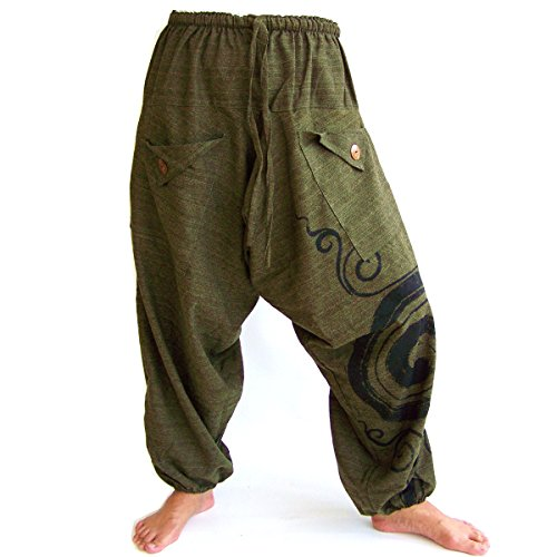SHC Pantalones Harem Bombachos para Hombre y Mujer 100% algodón