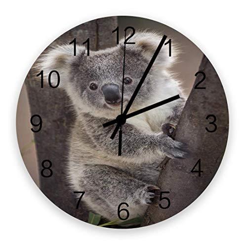 Lindo reloj de pared para bebé con oso Koala, silencioso, sin tictac, 10 pulgadas, relojes de pared redondos con pilas para decoración de dormitorio, sala de estar, oficina, escuela, cocina, Australia