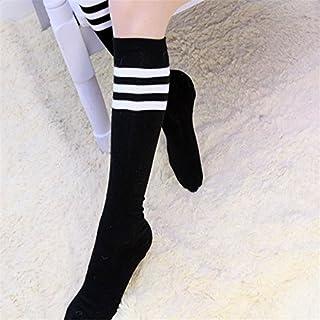 Demarkt Calcetines Japoneses de Tubo Alto sobre Medias hasta la Rodilla Calcetines a Rayas Blancos y Negros de Uniforme para Hombres y Mujeres