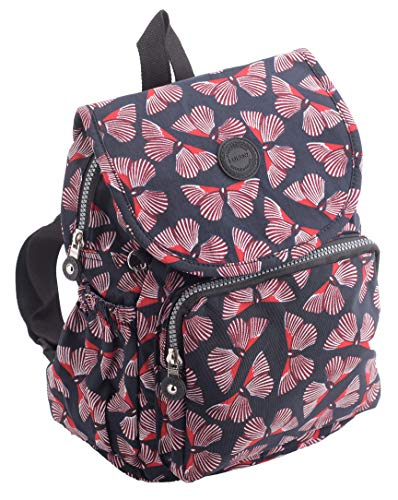 Ladies Girls Medium Lightweight Patterned Backpack/Rucksack in Burgundy Butterfly