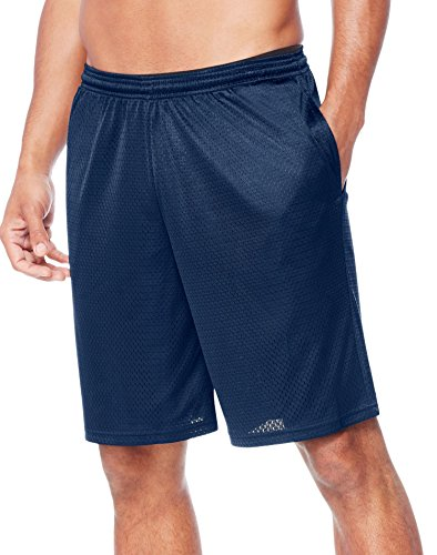 Hanes Men's Sport Mesh Pocket Short, Navy Heather, Large