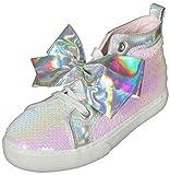 JoJo Siwa Girls' Reversible Sequins High Top Sneakers, Iridescent Sequins, Size 12 Little Kid