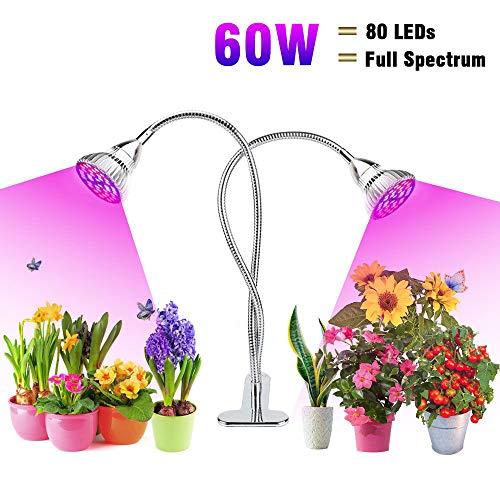 Flowlamp Pflanzenlampe 60W Pflanzenlicht Vollspektrum 80 LED Pflanzenleuchte Grow Lampe Flexiblen Wachstumslampe Wachsen Licht mit 2 Unabhängiger Schalter für Innen Zimmerpflanzen Sukkulenten