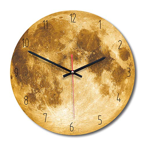 Camidy Mond Wanduhr Stille Fantastische Mond Holzuhr Wandbehang Romantische Leuchtende Uhr für Home Decoration Office School