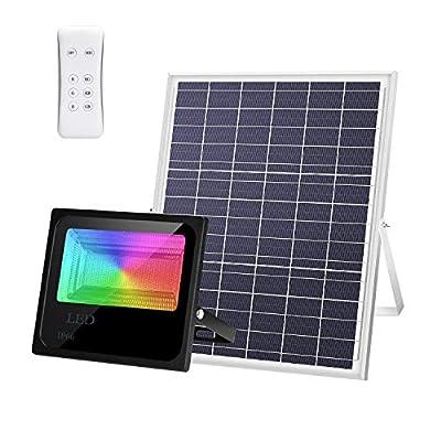 200W RGB LED Solar Flood Light 216LED Dusk Until Dawn Solar Powered Street Light Waterproof IP66 with Remote Control