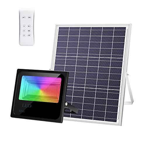 LEDMO Luz Solar Exterior RGB Mando a Distancia 200W, Foco Solar LED Luz 4 modos 16 colores con control remoto,Iluminación Solar Hasta 15 HORAS de Luz 25000LM