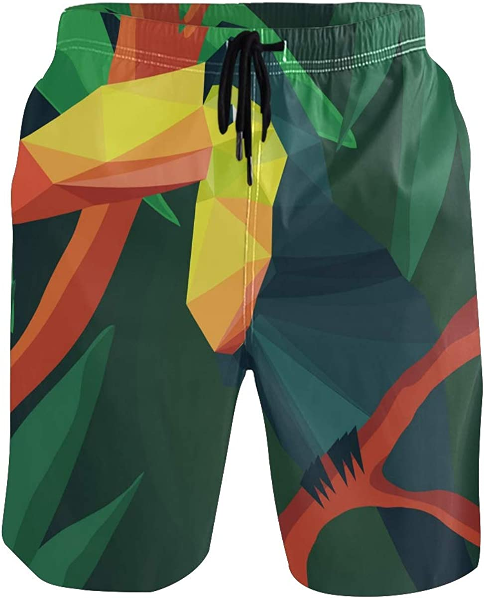 CENHOME Mens Swim Trunks Origami Toucan Tropical Red Green Beach Board Shorts