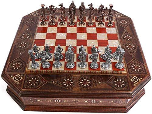 HEZHANG Metallschach Set Royal Mittelalterliche Britische Armee Antike Kupfer, Handgehte Teile, Natürliches Massives Holz Rose Board, Interne Lagerung
