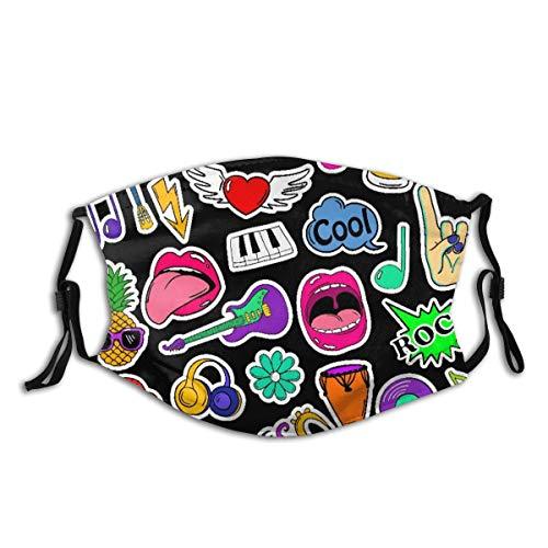 AIMILUX Gesichtsbedeckung,Bunte lustige Satz von Musik Aufkleber Symbolen Emoji Stifte oder Aufnäher im Comic Stil der 80er 90er Jahre,Winddicht Staubschutz Mund Bandanas Gamasche Mit 2 Filtern