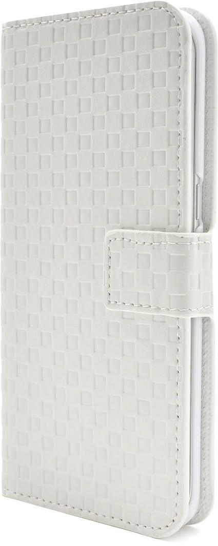 感謝祭含むニックネームPLATA Galaxy S7 edge SC-02H / SCV33 ケース 手帳型 市松 模様 チェック ブロック スタンド ケース ポーチ ギャラクシー S7 エッジ 格子柄 手帳 カバー 【 ホワイト 白 white しろ 】 DSC02H-62WH