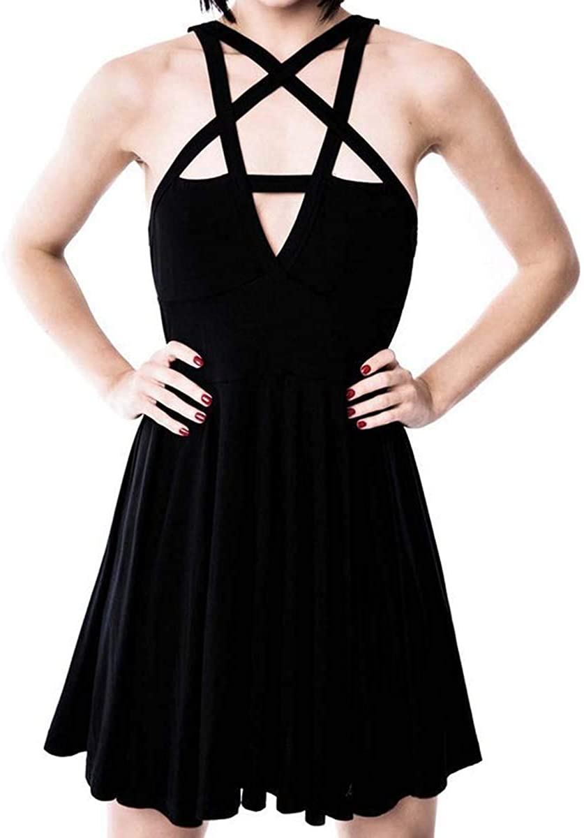 Womens Cross Strappy Solid Color Dresses Slim Fit Night Club Sexy Dresses