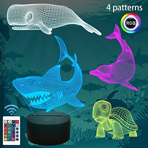 Shark Gifts, 3D Shark Night Light for Kids (4 Patterns) with Remote Control 16 Colors Changing Dimmable Function, Xmas Birthday Gifts for Kids Child (Shark, Whale, Turtle, Dolphin)
