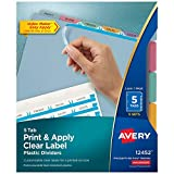 Avery Plastic 5-Tab Dividers, Easy Print & Apply Clear Label Strip, Index Maker, Multicolor, 5 Sets (11452)