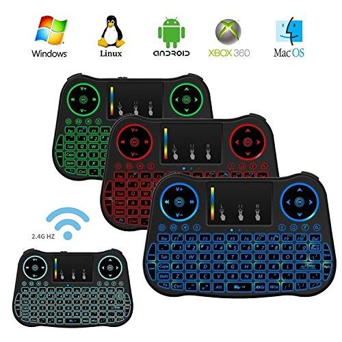 Ovegna versión T08 Rainbow (Teclado español) retroiluminación de Colores T08 2.4 GHz Wireless TV Videojuego Teclado mecánico RGB con Touchpad - para Smart TV, Mini PC, HTPC, Consola, Computadora